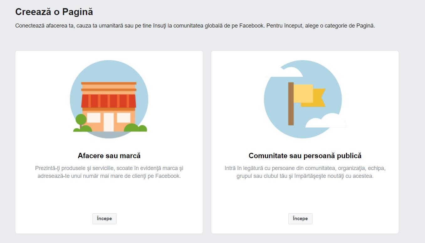 Pagina profesionala Facebook Creare cont